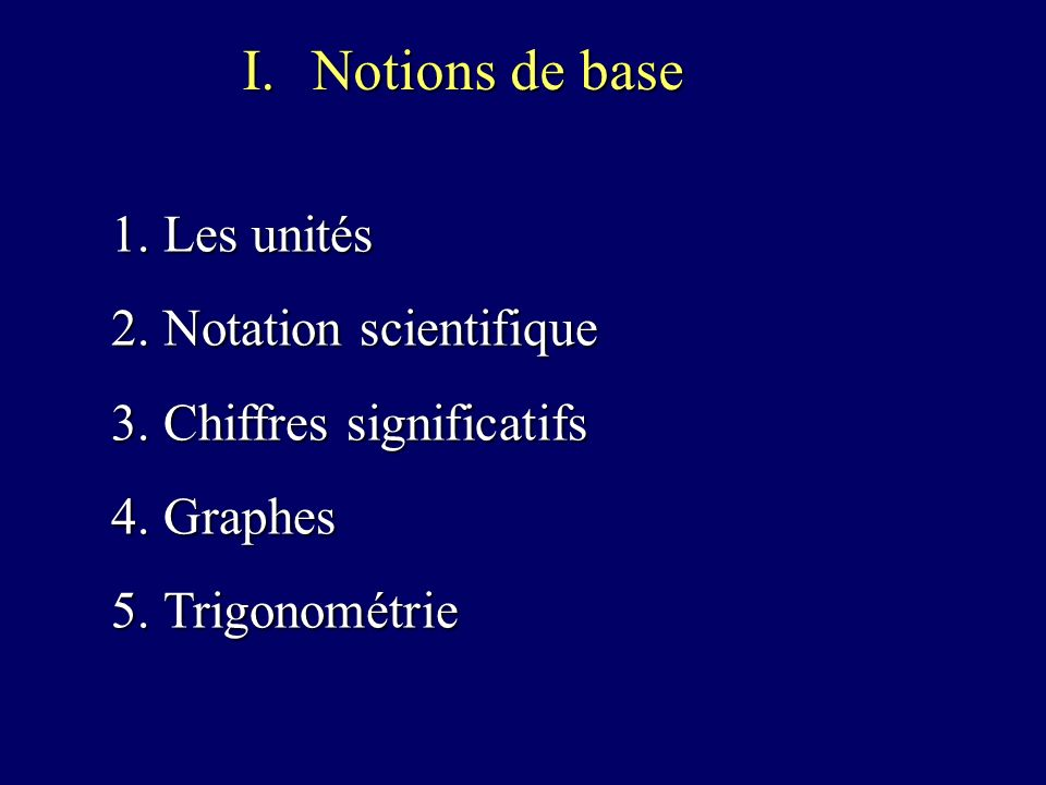 Notions de base Les unités Notation scientifique