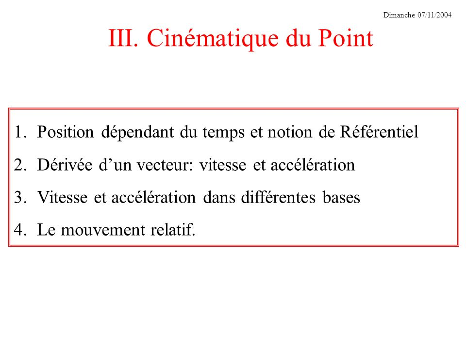 III. Cinématique du Point
