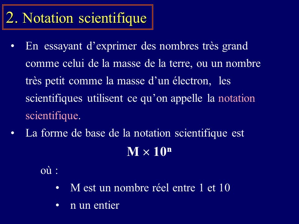 2. Notation scientifique
