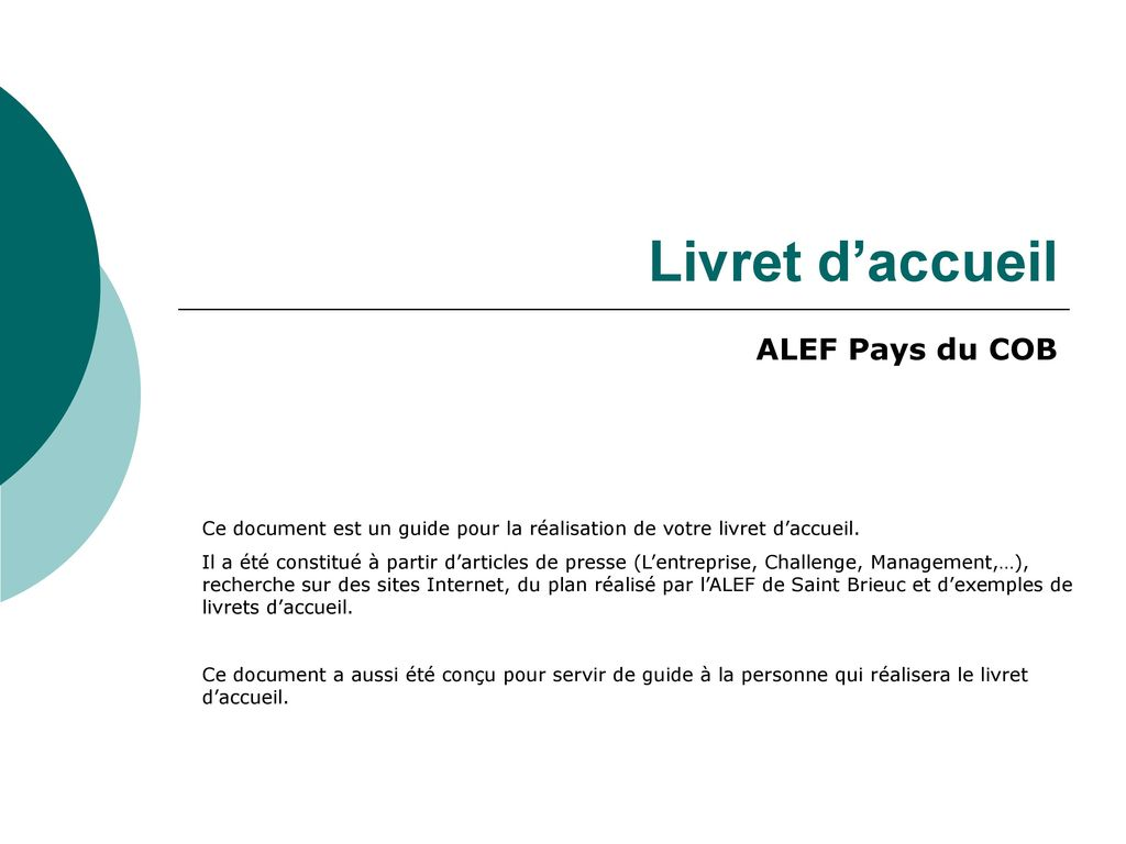 Livret D Accueil Alef Pays Du Cob Ppt Telecharger