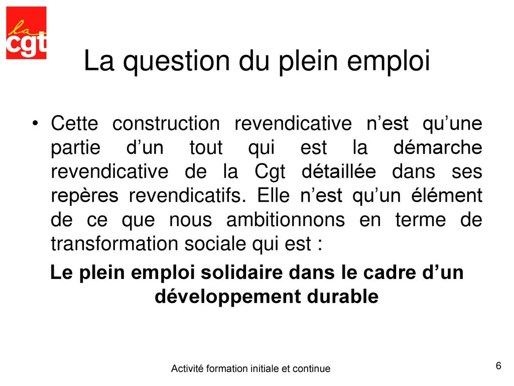 La question du plein emploi