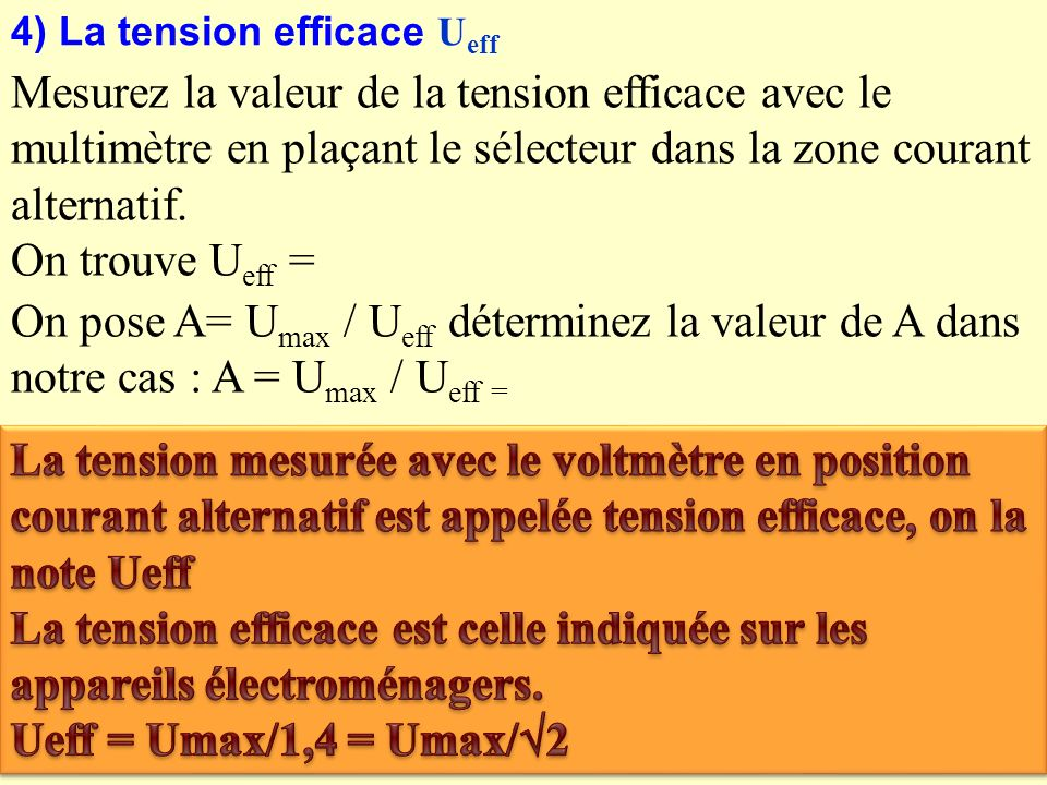 4) La tension efficace Ueff