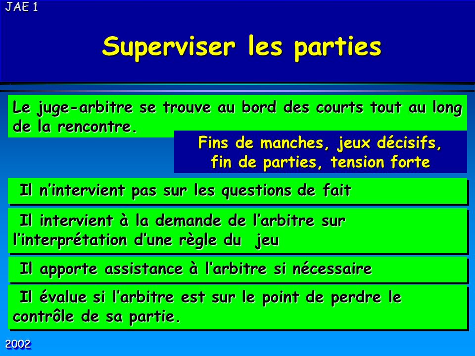 Superviser les parties