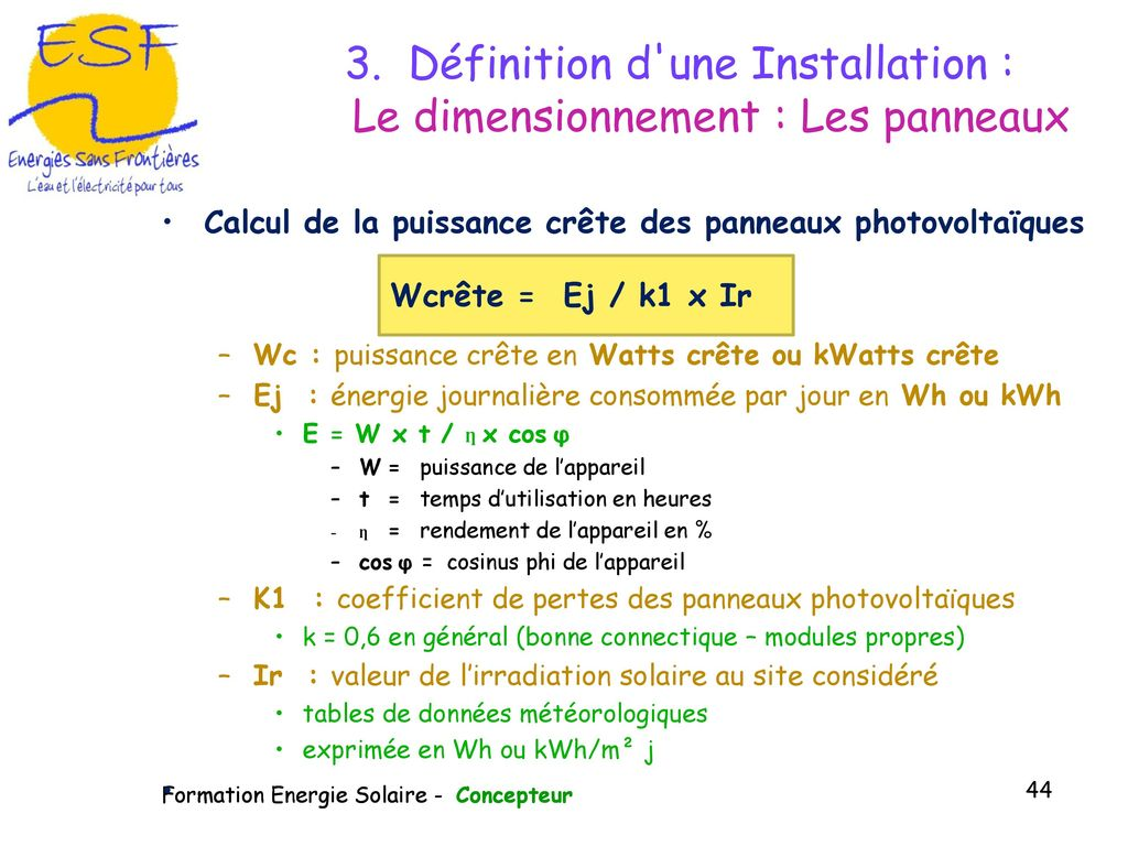 Puissance Panneau Photovoltaique se rapportant à module de formation à la gestion du photovoltaïque - ppt télécharger