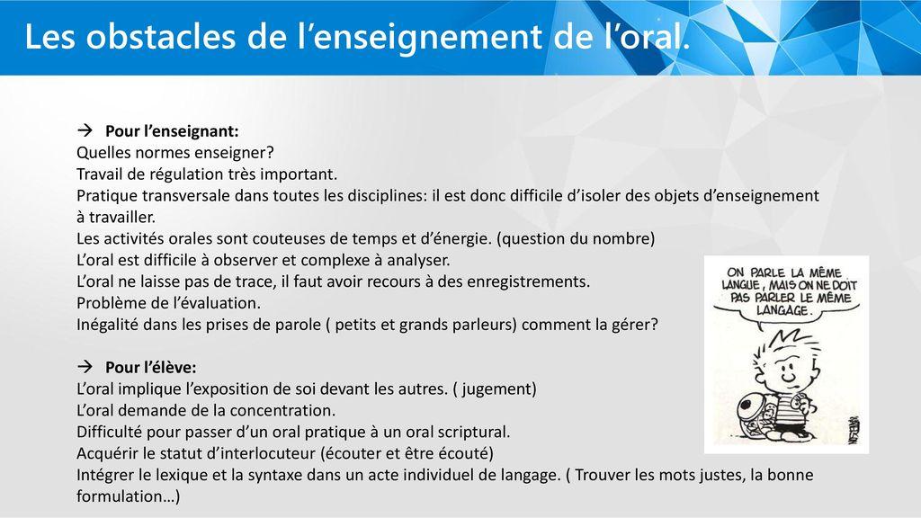 La Place De Loral Dans Les Nouveaux Programmes Cycles 2 Et 3