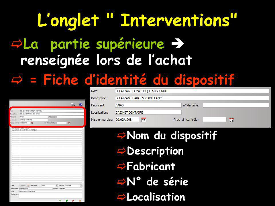L'onglet Interventions