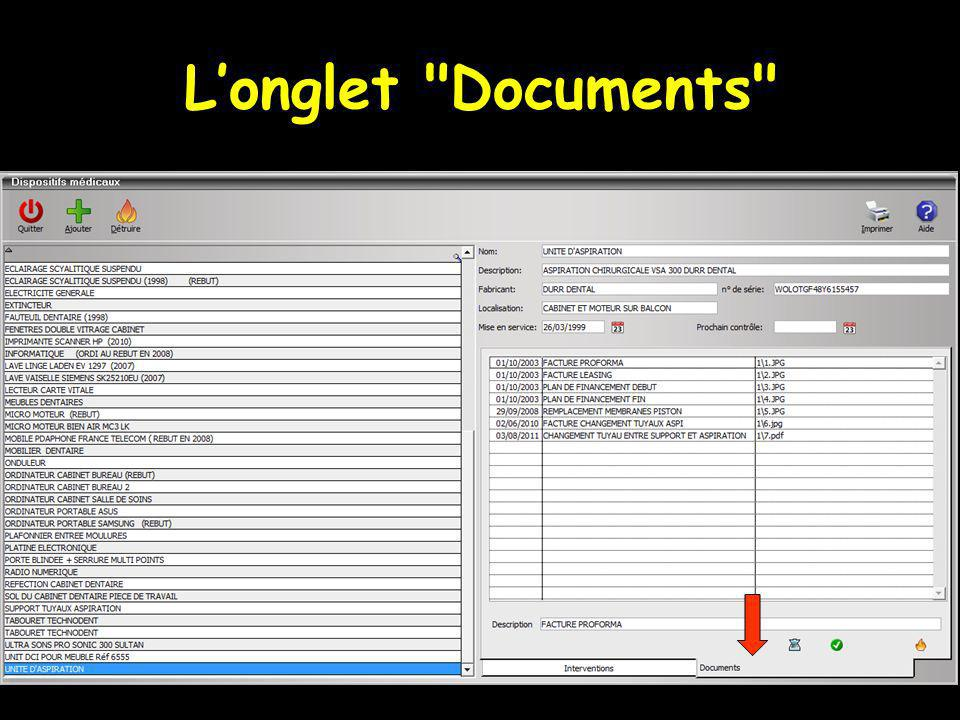 L'onglet Documents