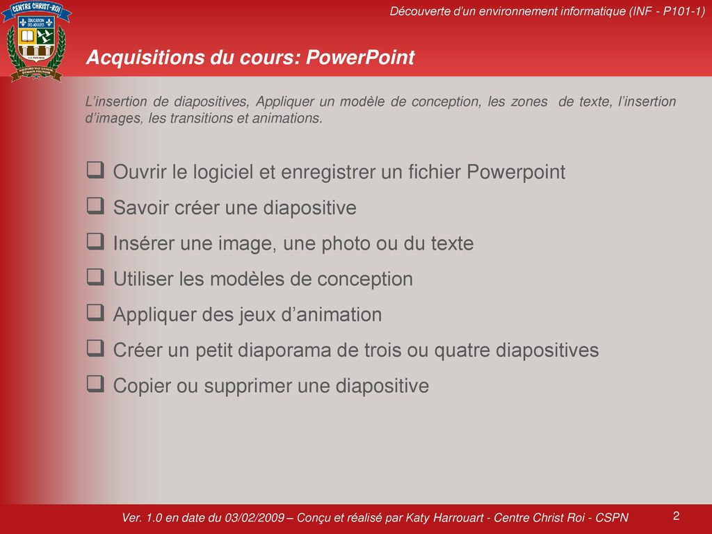 Acquisitions du cours: PowerPoint