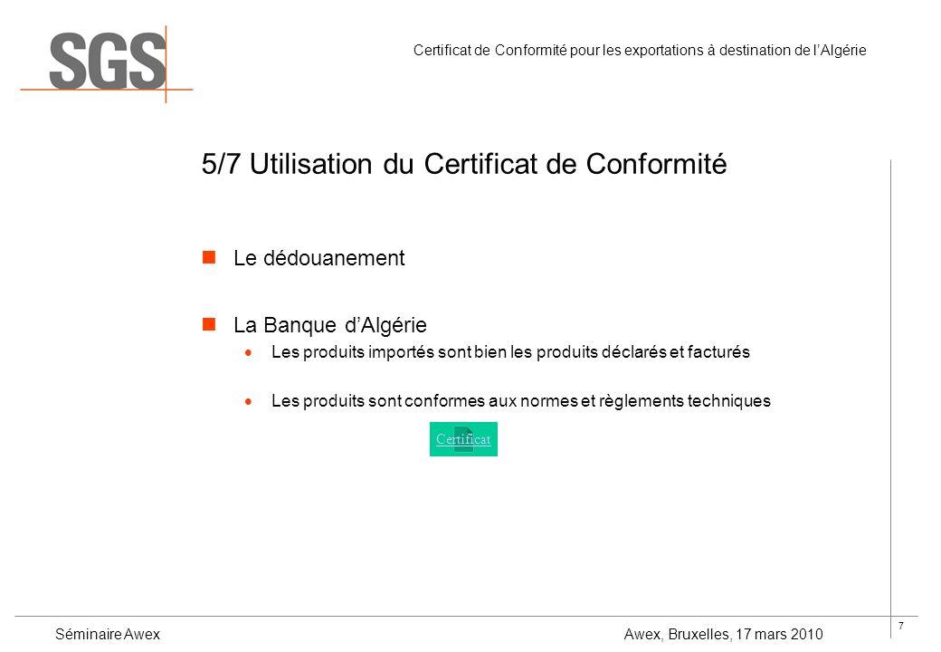 certificat de conformit pour les exportations destination de l alg rie par jozef somers. Black Bedroom Furniture Sets. Home Design Ideas