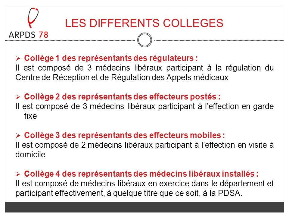 LES DIFFERENTS COLLEGES