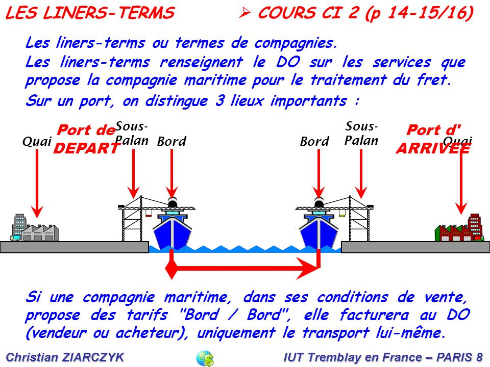 LES LINERS-TERMS  COURS CI 2 (p 14-15/16)