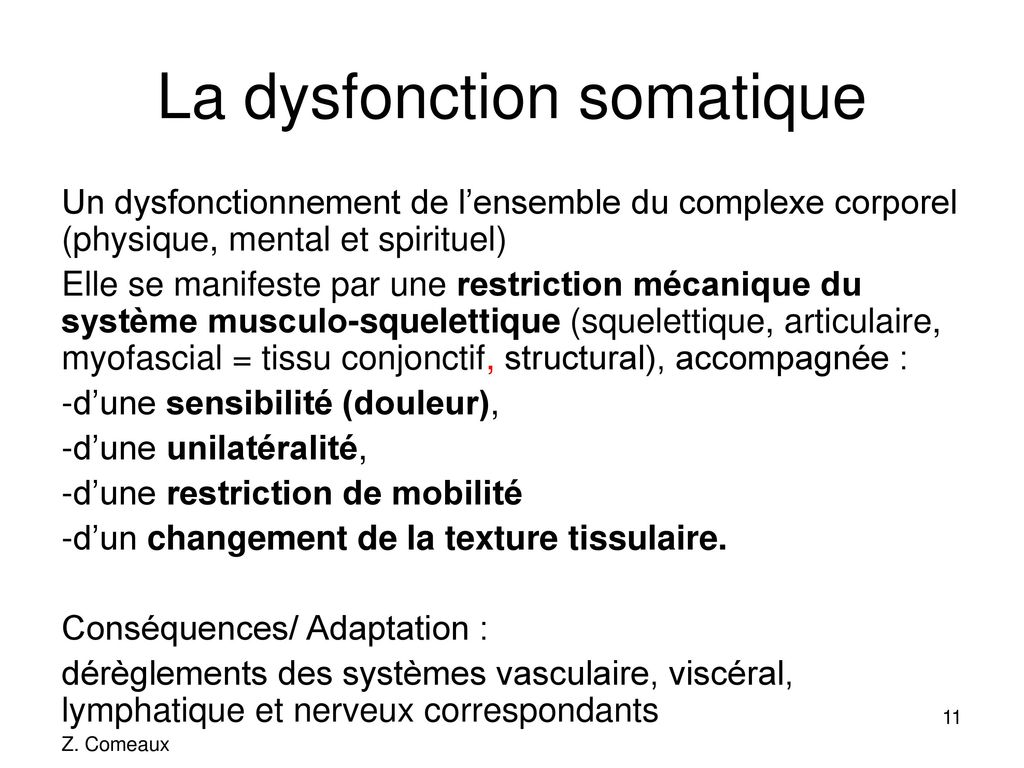 La dysfonction somatique