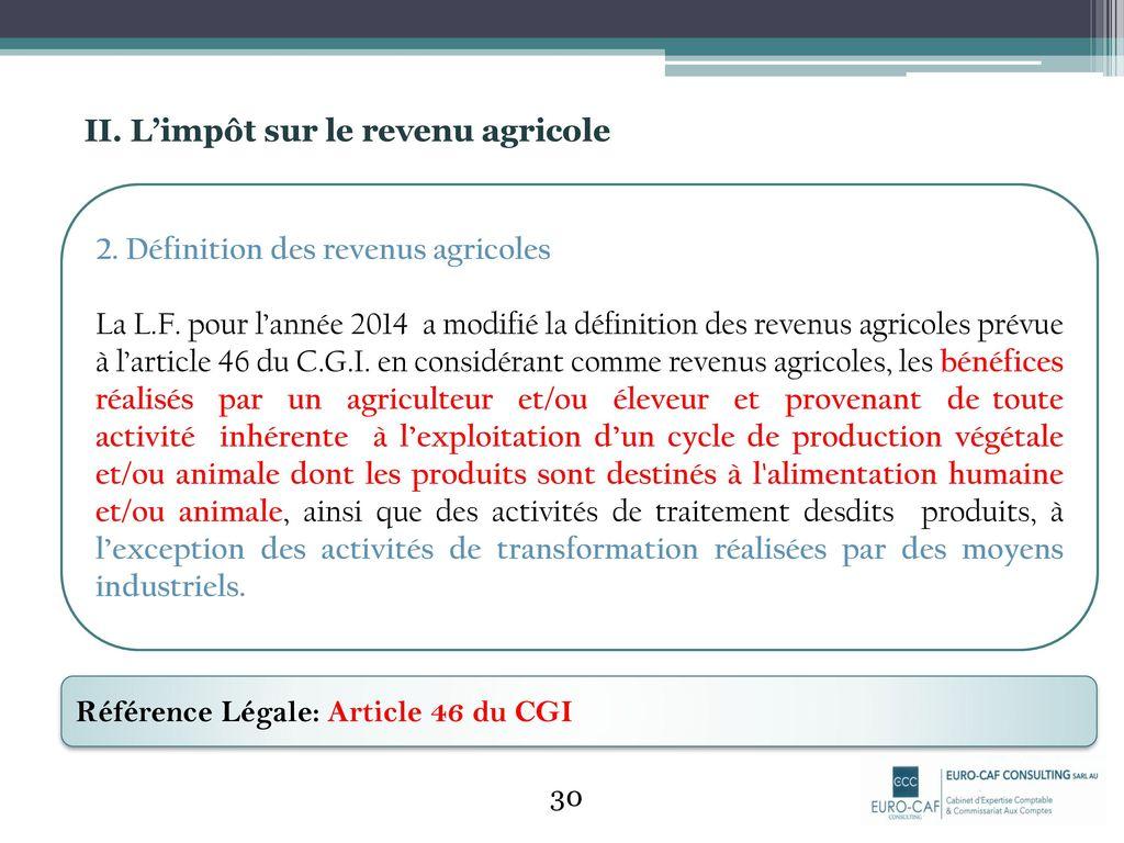 L Impot Sur Le Revenu Agricole Ppt Telecharger