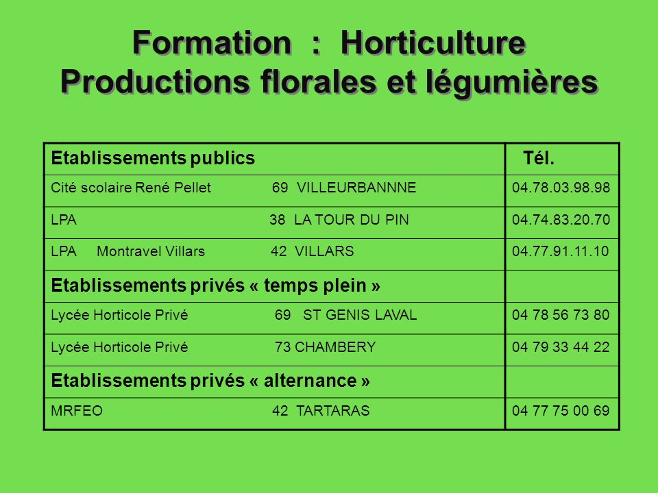 formation horticulture