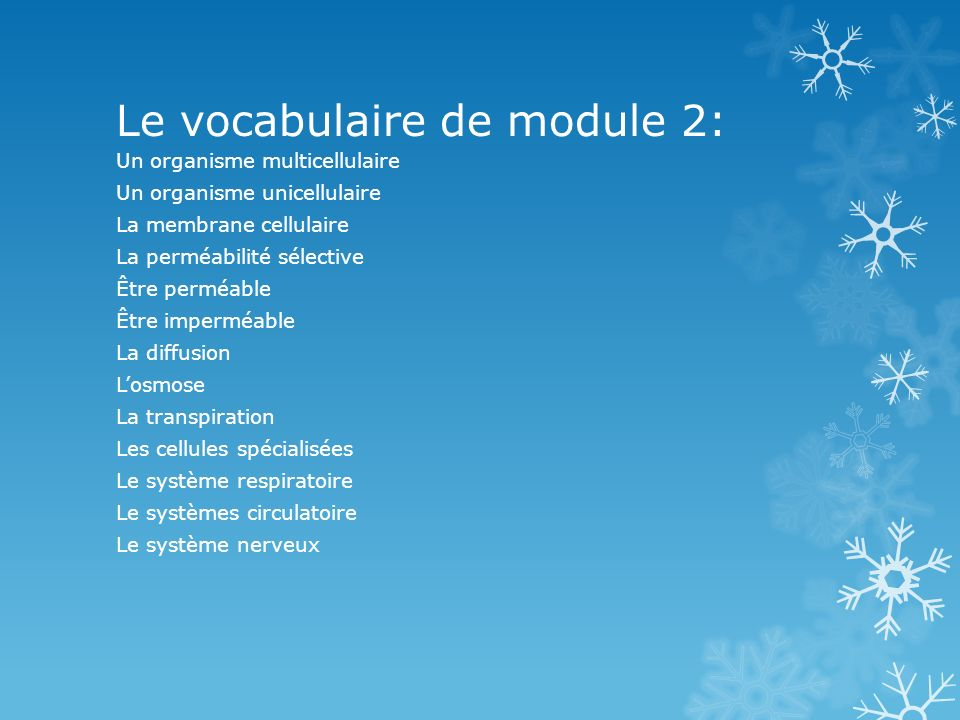 Le vocabulaire de module 2:
