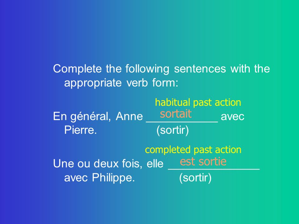 Complete the following sentences with the appropriate verb form: