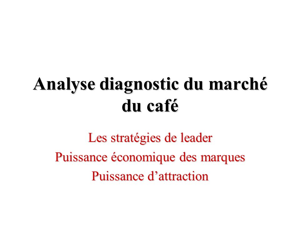 Analyse diagnostic du marché du café