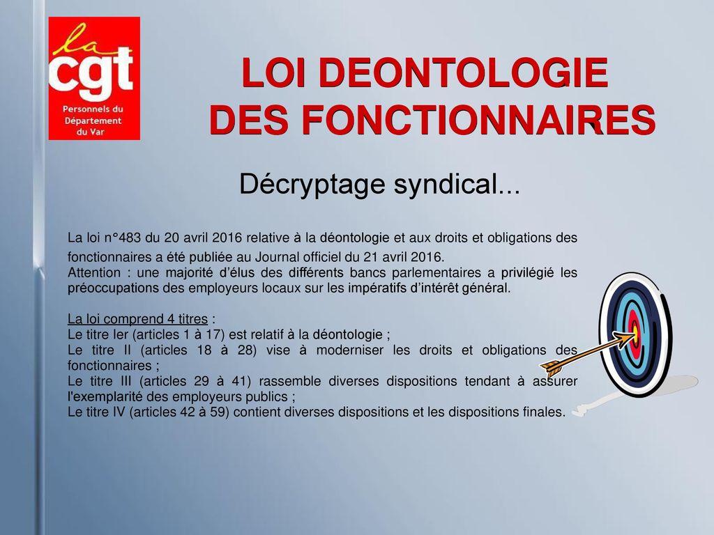 8b1576a9b08 LOI DEONTOLOGIE DES FONCTIONNAIRES - ppt télécharger