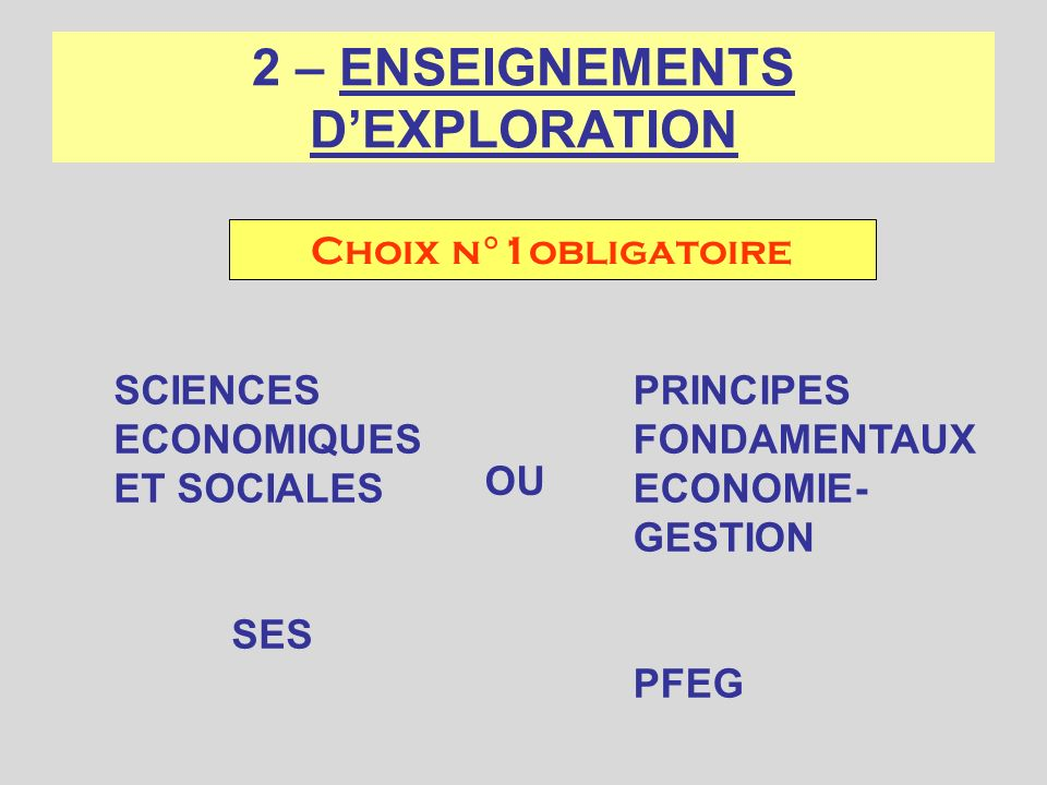 2 – ENSEIGNEMENTS D'EXPLORATION