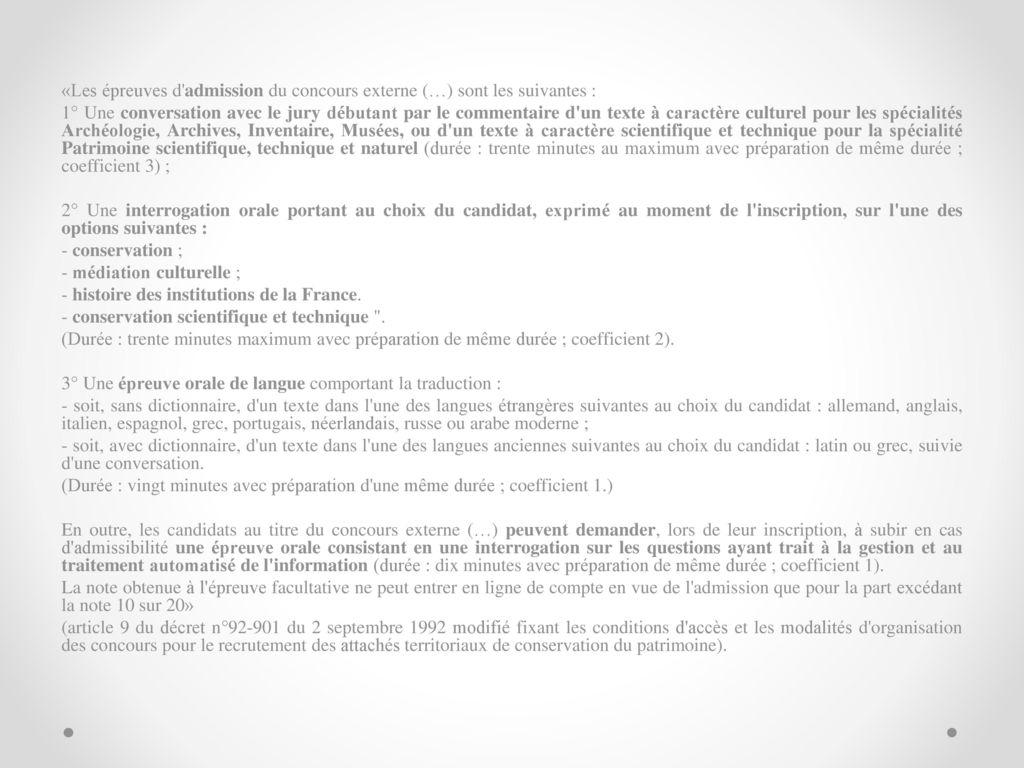 be1a30dcfaa «Les épreuves d admission du concours externe (…) sont les suivantes