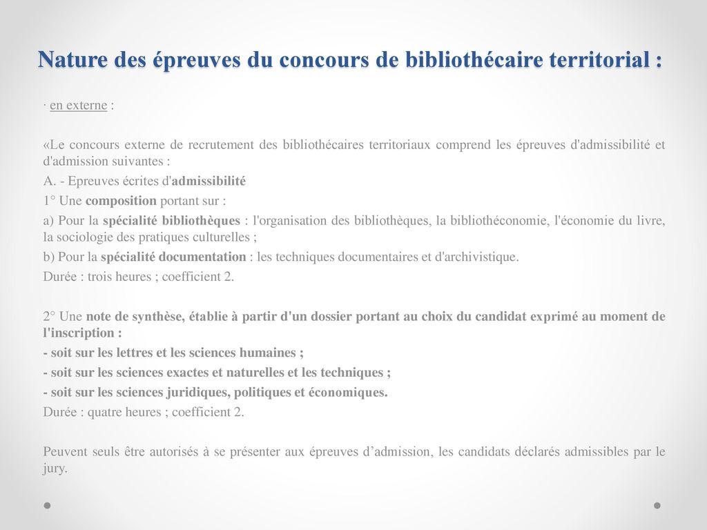 04a015d55b1 Nature des épreuves du concours de bibliothécaire territorial