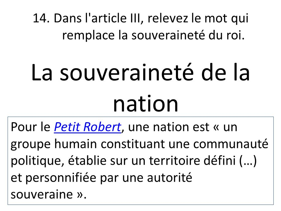 La souveraineté de la nation