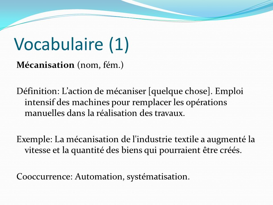 Vocabulaire (1)