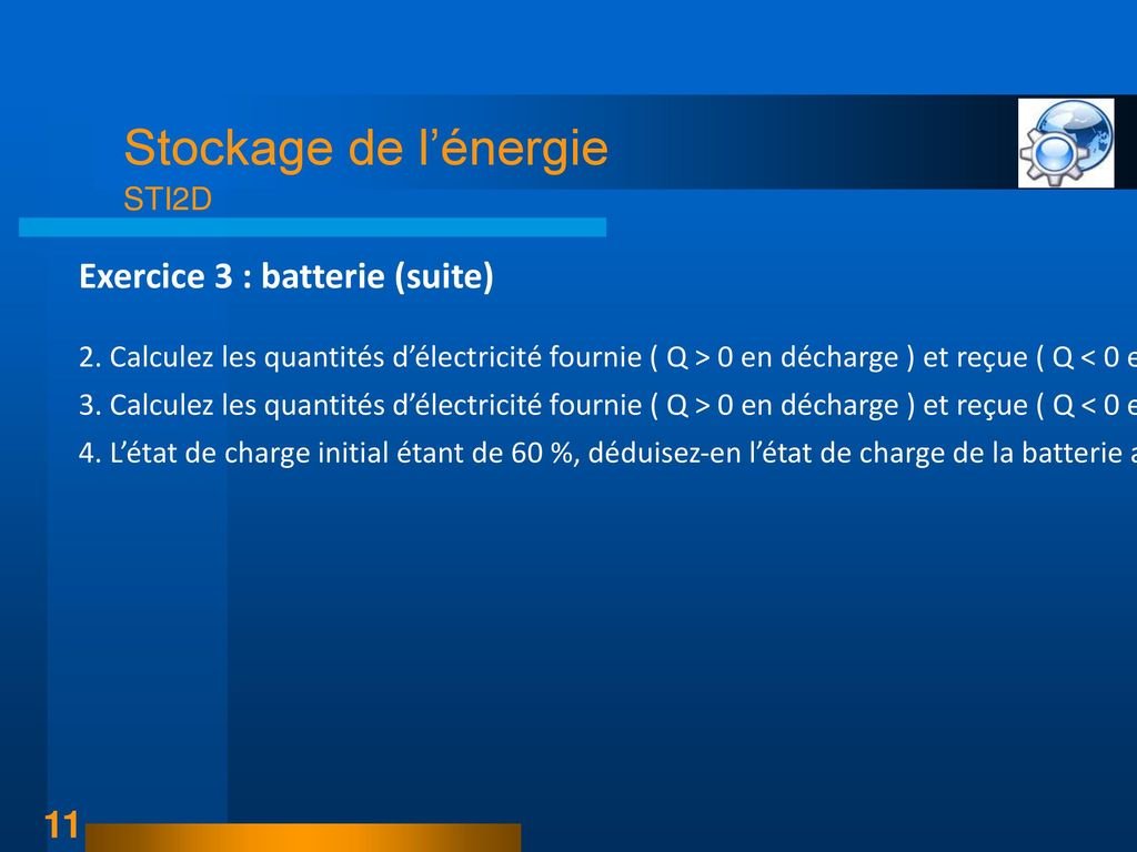 Exercice 3 : batterie (suite)