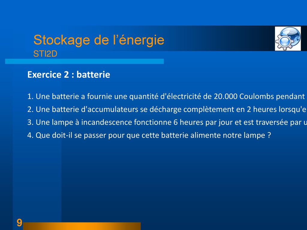 Exercice 2 : batterie