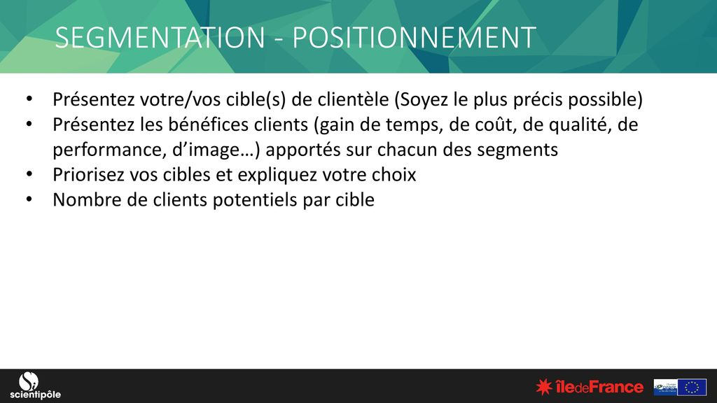SEGMENTATION - POSITIONNEMENT