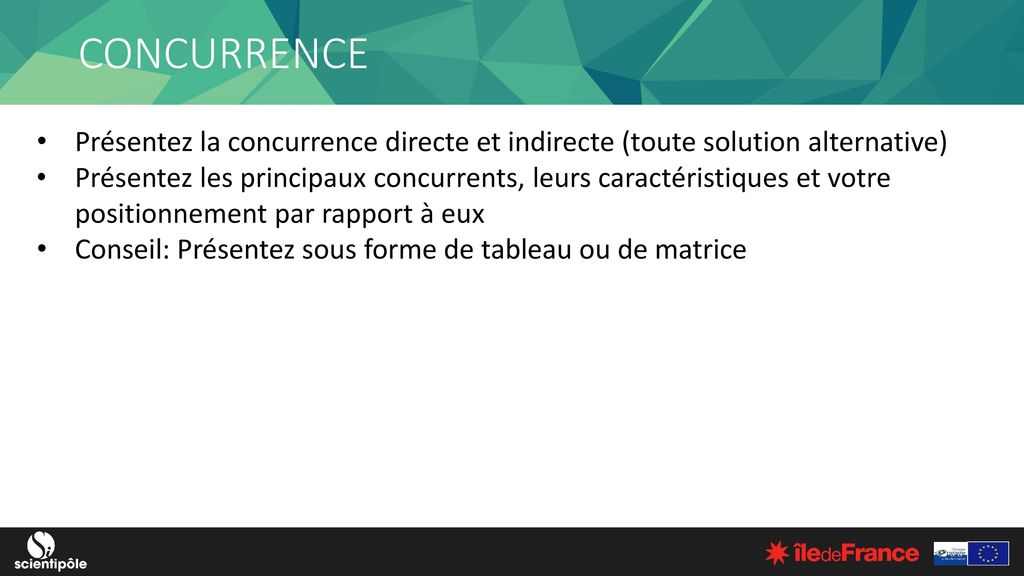 CONCURRENCE Présentez la concurrence directe et indirecte (toute solution alternative)
