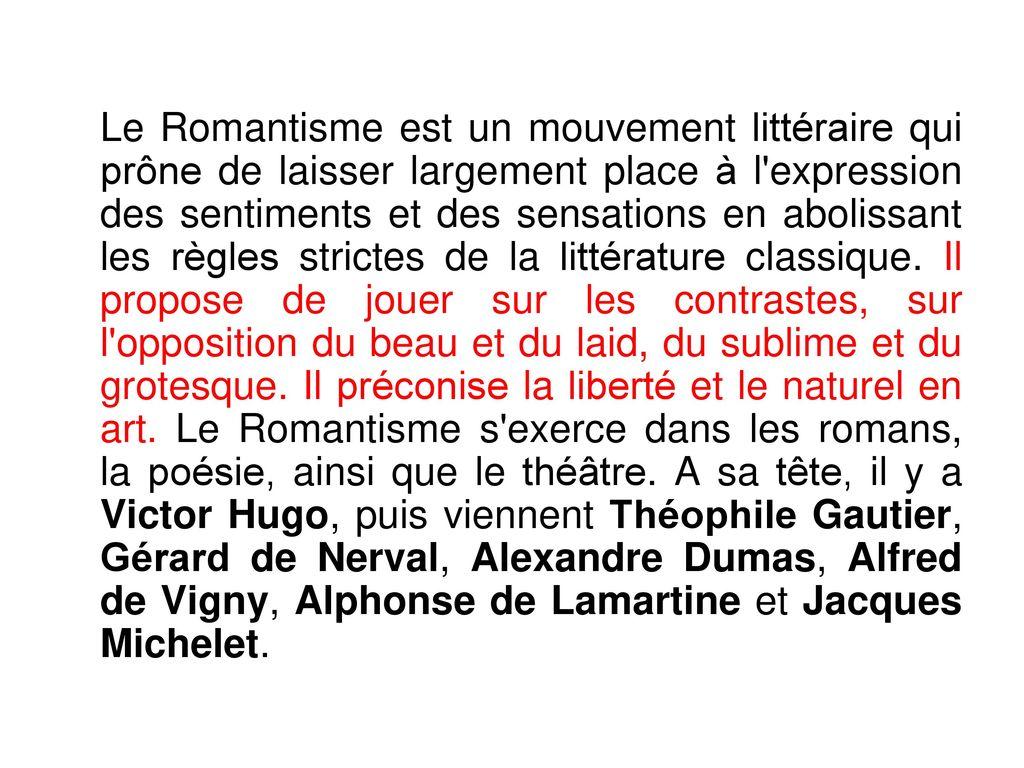 Littérature Romantique le romantisme mouvement littéraire et culturel du xixe siècle - ppt