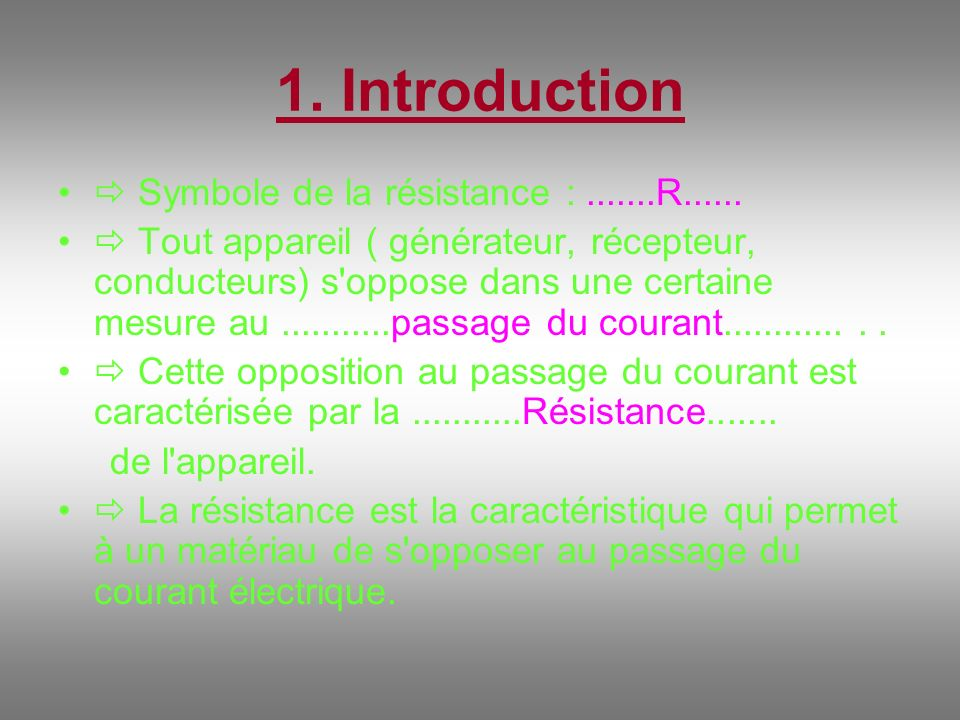 1. Introduction  Symbole de la résistance : R......