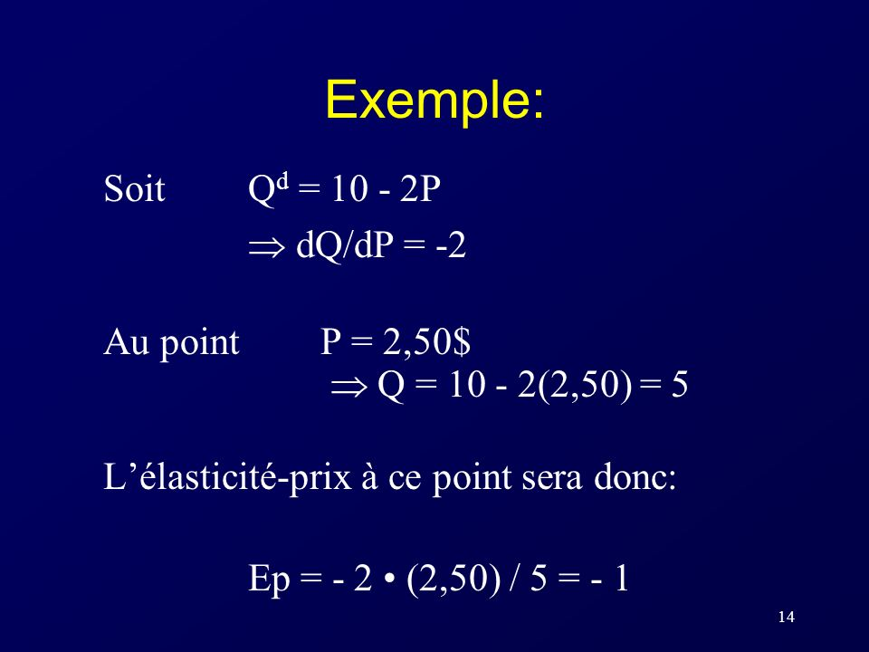 Exemple: Soit Qd = P  dQ/dP = -2 Au point P = 2,50$