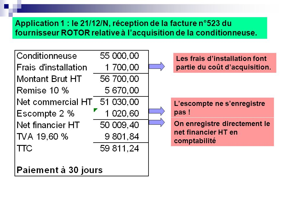 Application 1 : le 21/12/N, réception de la facture n°523 du fournisseur ROTOR relative à l'acquisition de la conditionneuse.