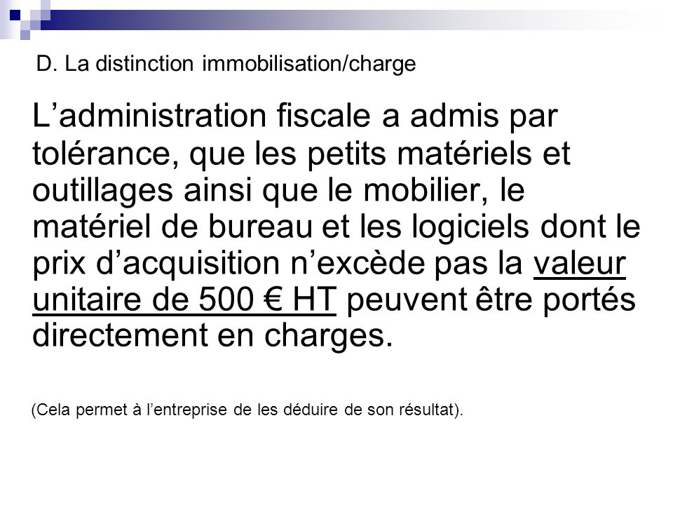 D. La distinction immobilisation/charge