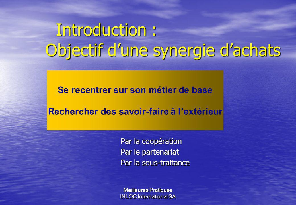 Introduction : Objectif d'une synergie d'achats