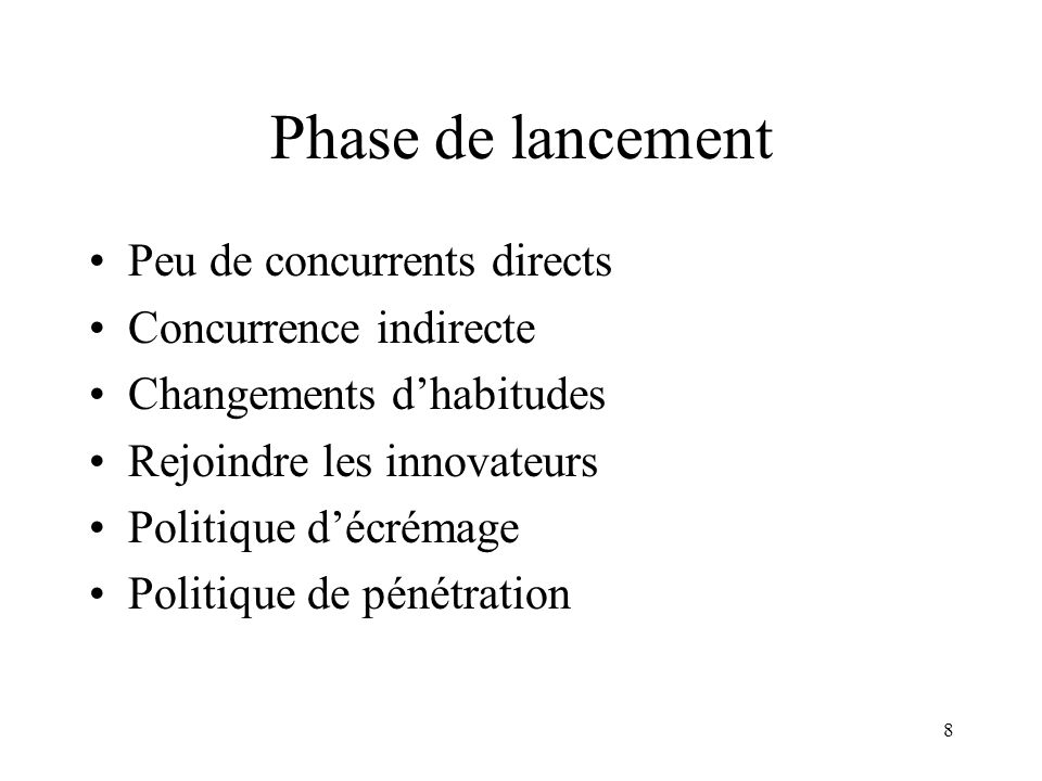 Phase de lancement Peu de concurrents directs Concurrence indirecte