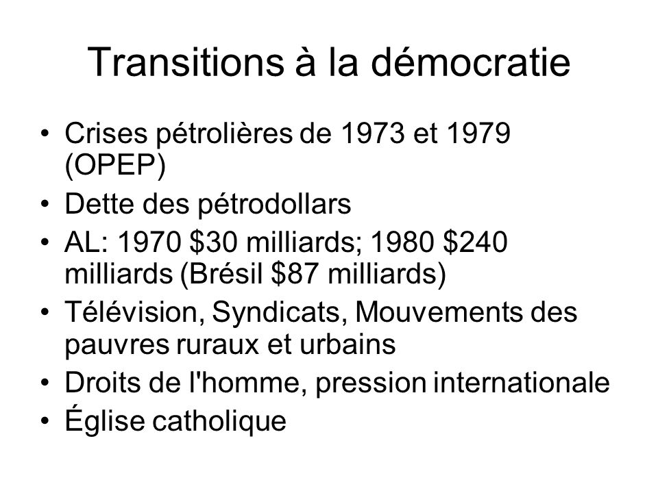 Transitions à la démocratie
