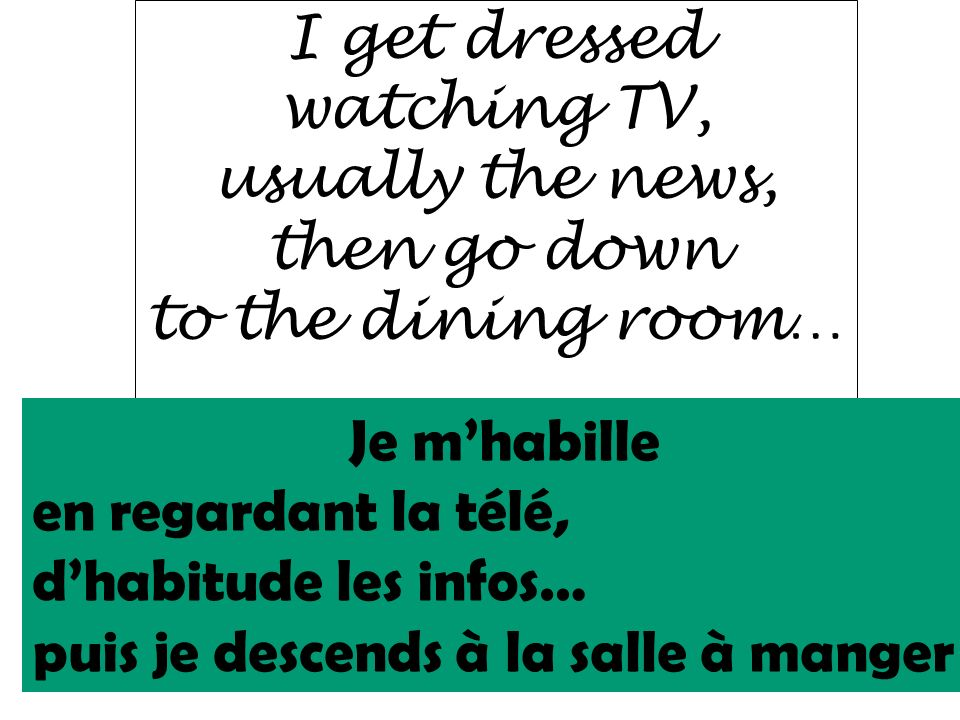 I get dressed watching TV, usually the news, then go down. to the dining room… . Je m'habille.
