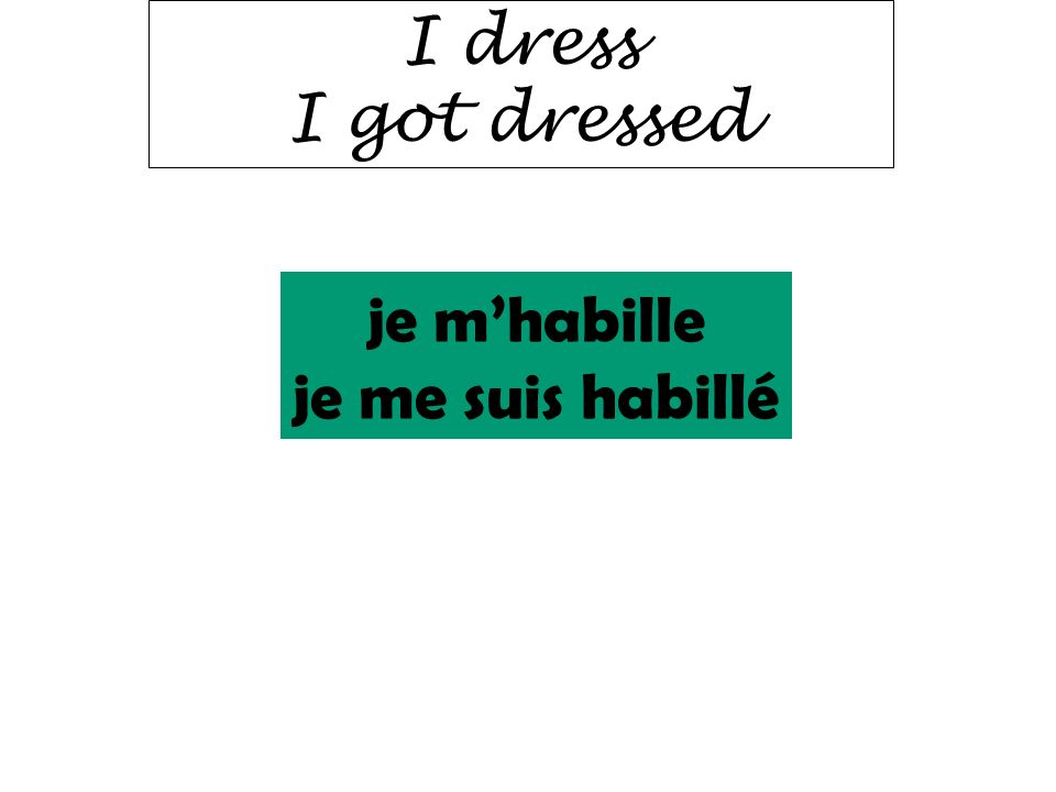 I dress I got dressed je m'habille je me suis habillé