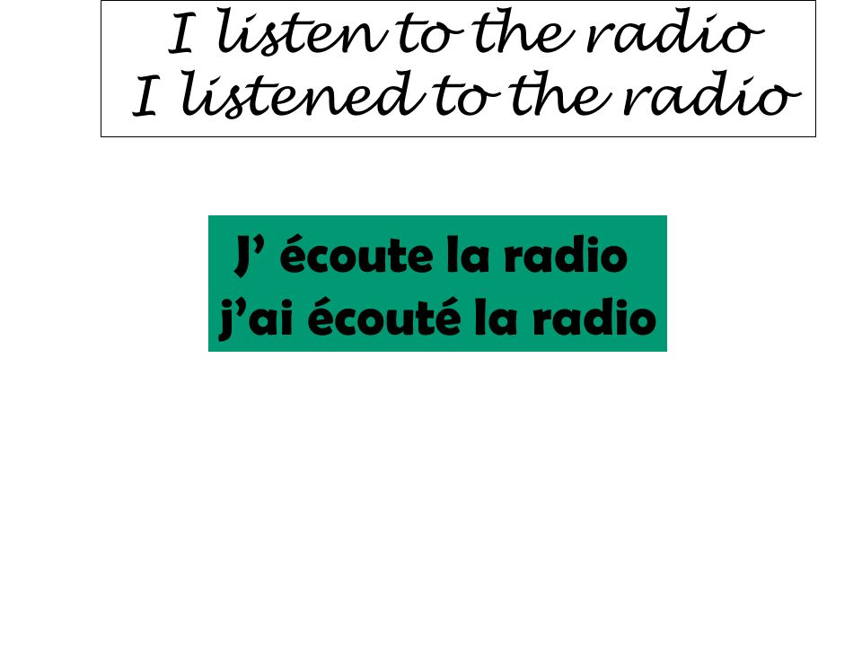 I listen to the radio I listened to the radio J' écoute la radio j'ai écouté la radio