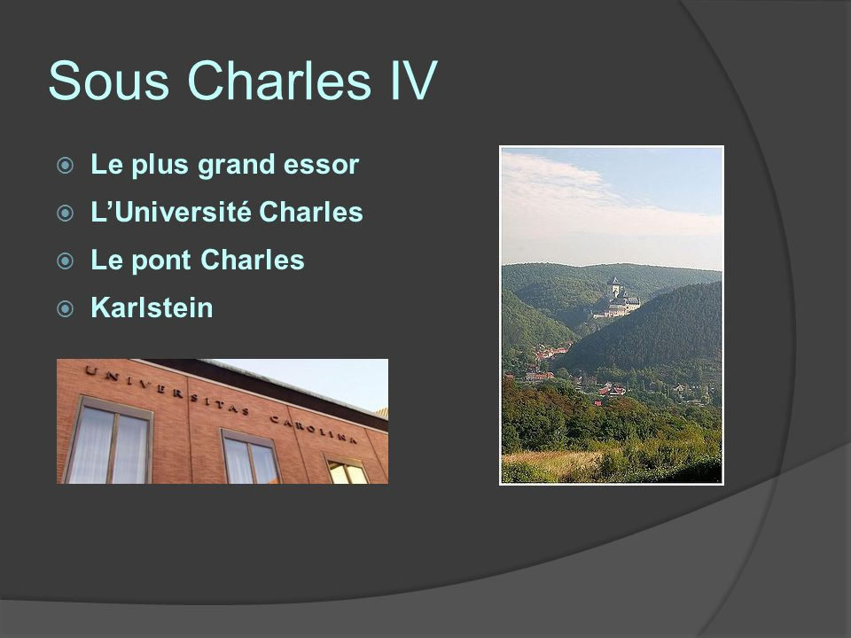 Sous Charles IV Le plus grand essor L'Université Charles