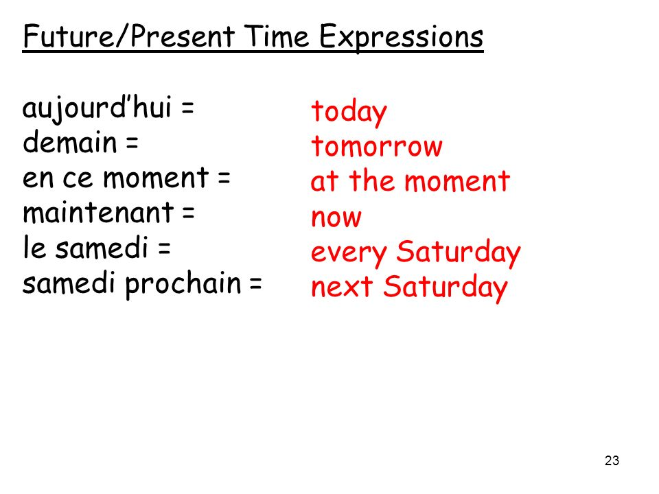 Future/Present Time Expressions