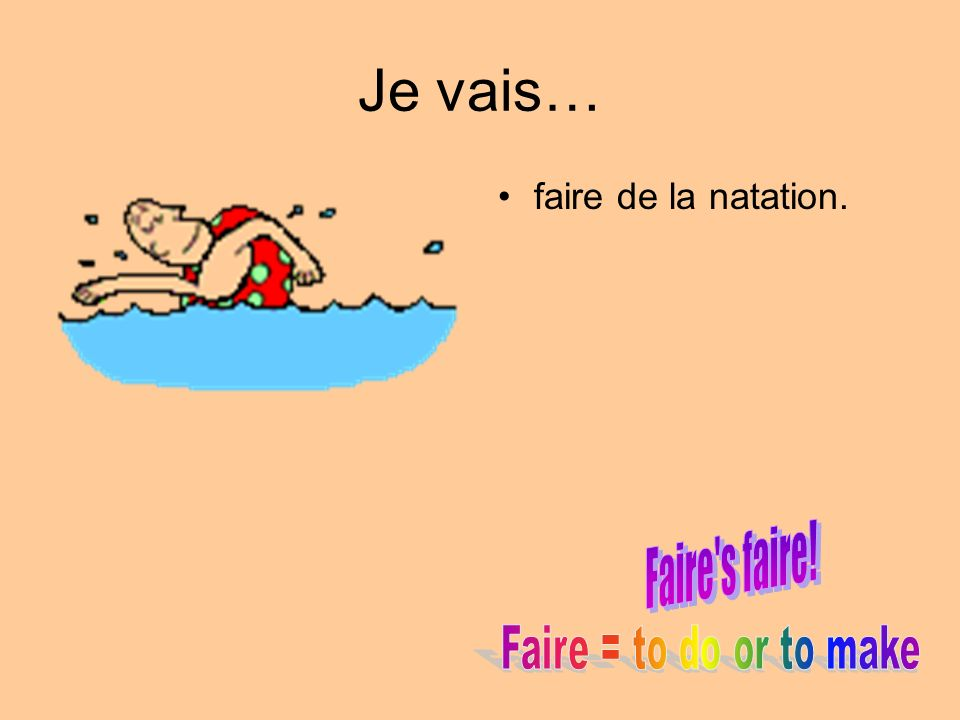 Je vais… faire de la natation. Faire s faire! Faire = to do or to make