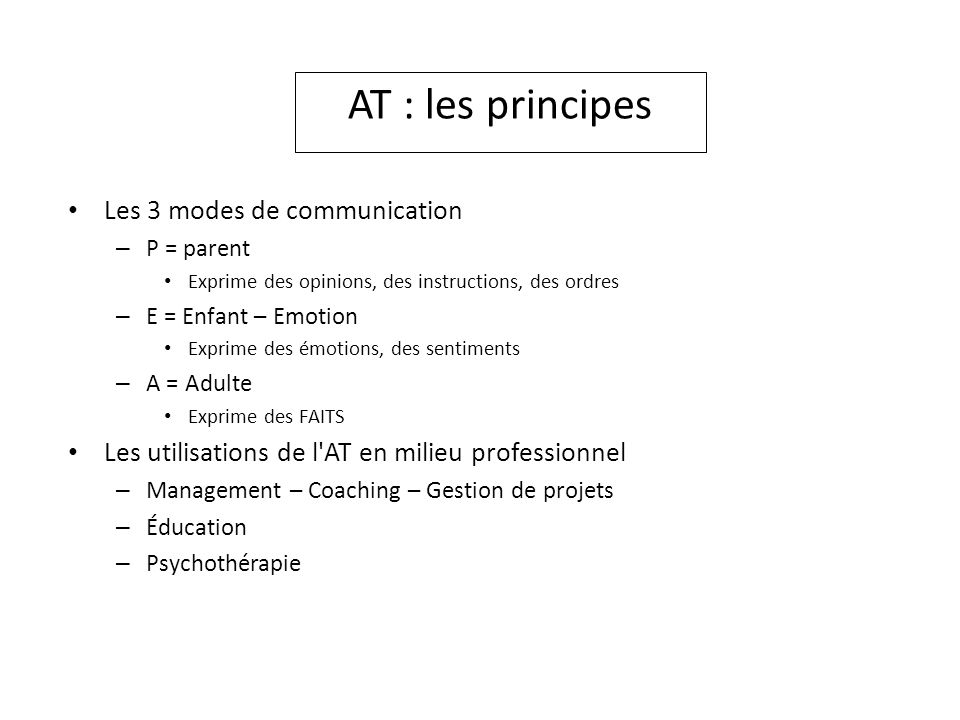 AT : les principes Les 3 modes de communication