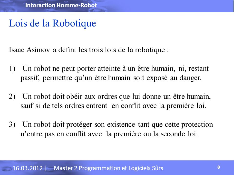 Interaction Homme-Robot