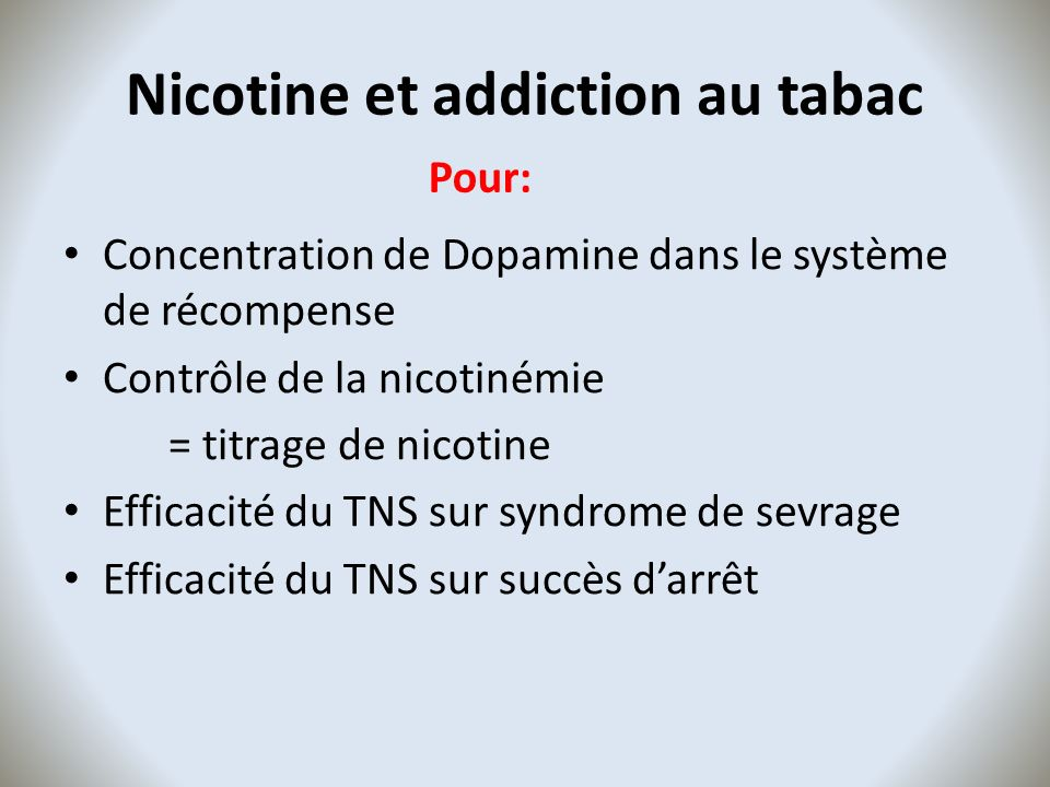 Nicotine et addiction au tabac