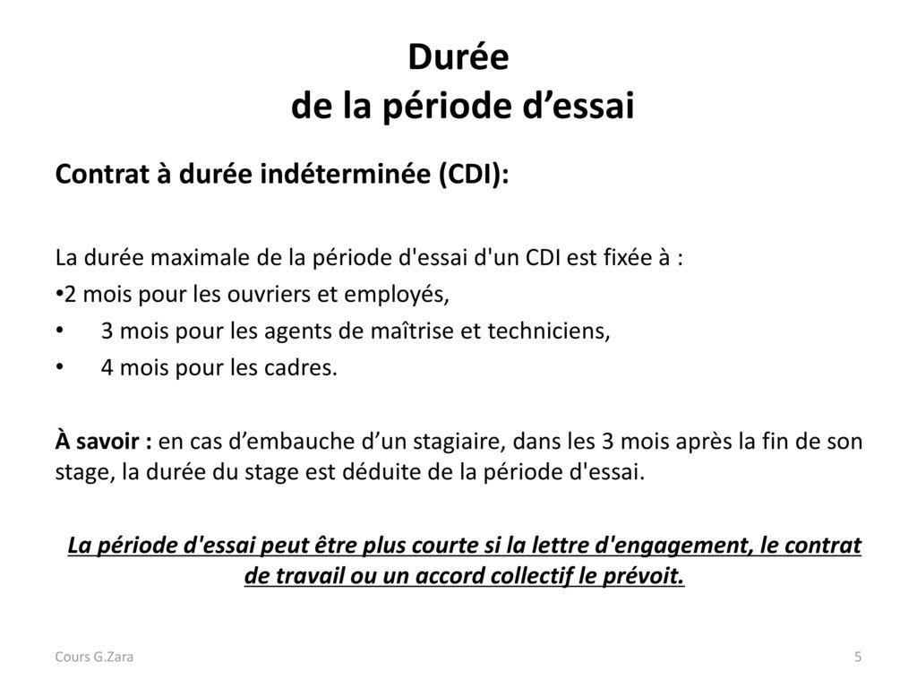 La Periode D Essai Cours G Zara Ppt Video Online Telecharger