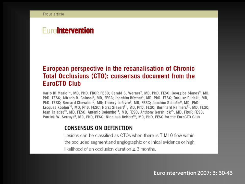 Eurointervention 2007; 3: 30-43